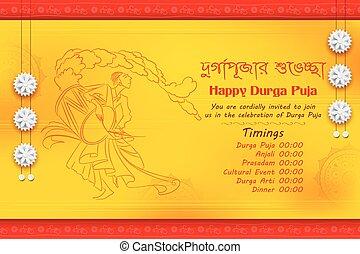 durga, bangali, bijoya, dussehra, subho, texto, puja, saludo, significado, plano de fondo, feliz