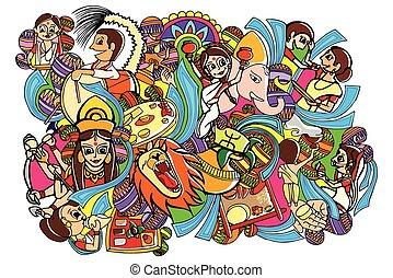 durga, doodle, puja, affattelseen, glade