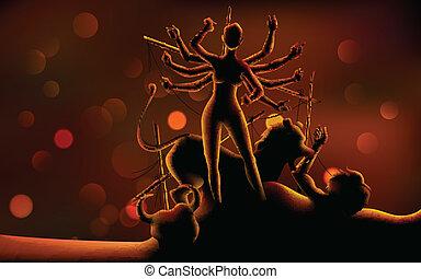 durga, gudinde, aflivning, (happy, navratri), mahishasura, ...