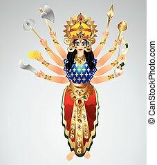 durga, gudinde, animeret, vektor, illustration