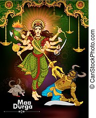 durga, gudinde, dussehra, djævel, aflivning, mahishasura,...