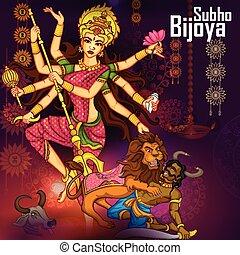 durga, gudinde, dussehra, djævel, aflivning, mahishasura, vijayadashami, glade