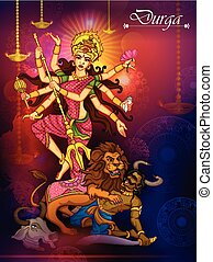 durga, gudinde, dussehra, djævel, aflivning, mahishasura, ...