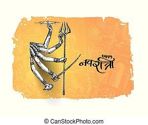 durga, gudinde, festival, tekst, puja, shubh, hånd, hindu, ...