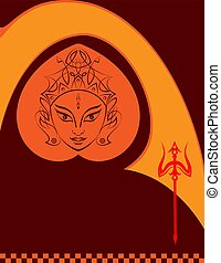 durga, gudinde, magt, univers, konstruktion, mor, guddommelig