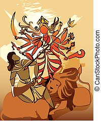 Durga Hindu goddess with Asura in celebration of Durga puja...