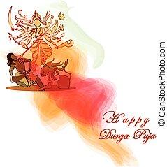 Durga Hindu goddess with Asura in celebration of Durga puja, Dessehra,Nevaratri.