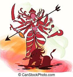 Durga Hindu goddess with Asura in celebration of Durga puja
