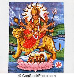 durga, hindu, imagem, deusa