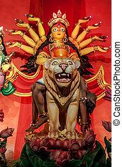 Durga Idol on lion, traditional, worship, Hindu, Hinduism, Bengal culture, extravagant, earthen, colorful, travel