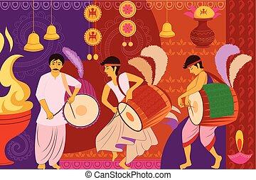 durga, kunst, festival, puja, indien, baggrund, kitsch, glade