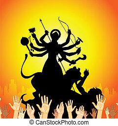 Durga Puja - illustration of sculpture of goddess Durga...