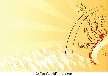 Durga Puja - illustration of goddess Durga killing...