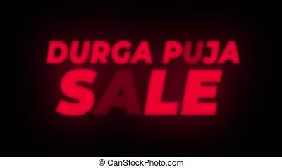 Durga Puja Sale Text Flickering Display Promotional Loop. -...
