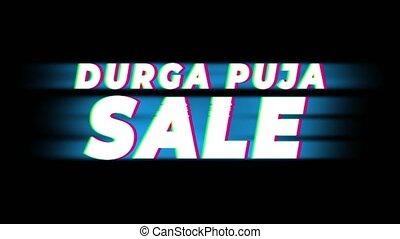 Durga Puja Sale Text Vintage Glitch Effect Promotion . -...