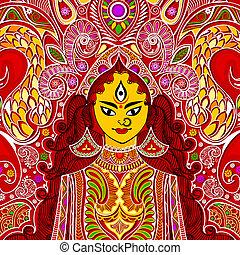 Durga Puja - illustration of colorful Goddess Durga against...