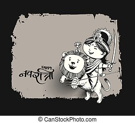 durga, skitse, illustration., festival, puja, indien, hånd, ...