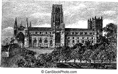 Durham Cathedral in England, United Kingdom, vintage engraving