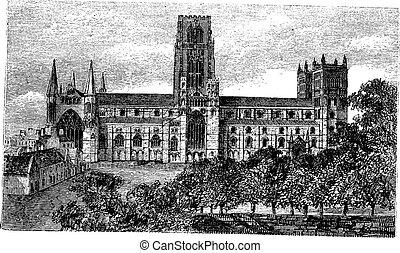 Durham Cathedral in England, United Kingdom, vintage engraving