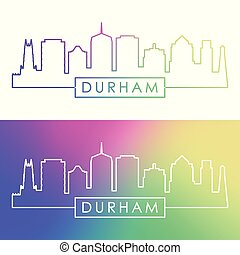 Durham skyline. Colorful linear style.