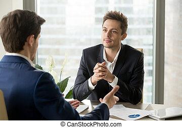 duri, business, conversation, écoute, homme affaires, associé, attentif