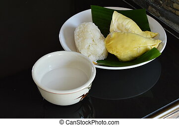 durian and sticky rice