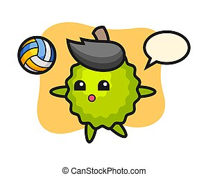 Durian cartoon is playing volleyball