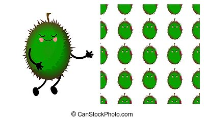 Durian Exotic fruit. Durian character and seamless pattern. Vector illustration.