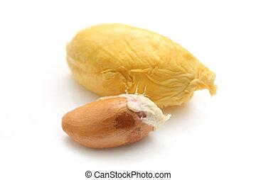 Durian Flesh - Close up of peeled durian flesh isolated on...