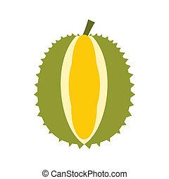 Durian fruit icon, flat style