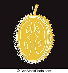 Durian fruit in doodle style icon vector illustration for design and web isolated