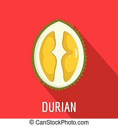 Durian icon, flat style