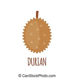 Durian icon in flat style on white background