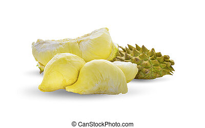 Durian king of fruits, tropical fruit isolated on the white background