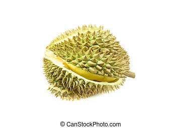 durian on white background, king of fruit