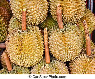 durian, owoce, w, przedimek określony przed rzeczownikami, targ, thai, styl, owoc, tajlandia