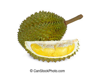 durian tropical fruit isolated on white background