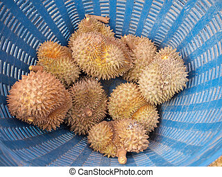Durians, king in the baskets
