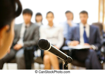 During speech - Image of microphone being used by speaker ...