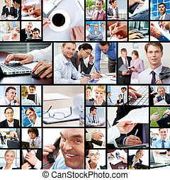During work - Collage of businesspeople in different working...
