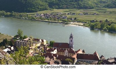 Durnstein Town in the Wachau Valley from Above Zoom Out