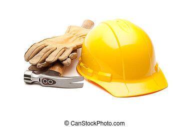 duro, amarillo, guantes, sombrero, blanco, martillo