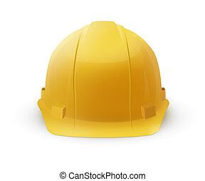 duro, casco, construcción, -, sombrero