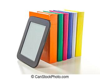 duro, cubierta, libros, lector, libro electrónico