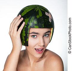 duro, giovane, capriccio, verde, melone, fresco, ragazza, cappello, felice