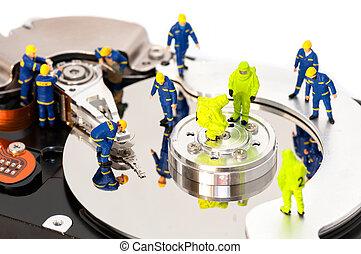 duro, grupo, unidad, mantener, ingenieros