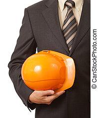 duro, mano, arquitecto, naranja, sombrero, o, ingeniero