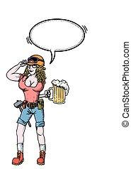 duro, mujer, beer-100, trabajando