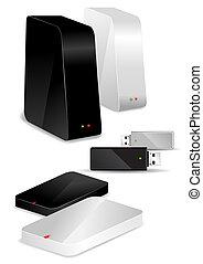 duro, portátil, discos, unidad, /, escritorio, usb