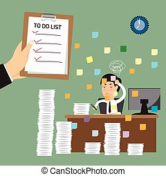 duro, work., affari, no, lavoro, elenco, mano, appunti, vettore, presentare, presa a terra, uomo, illustration.